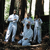 A UCSC Campus Natural Reserve Continuous Forestry Inventory crew poses on their last internship work day